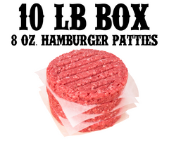 10 lb box Hamburger Patties