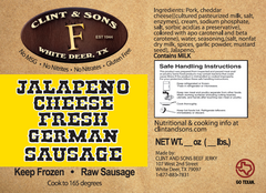 Jalapeno Cheese Fresh German Sausage