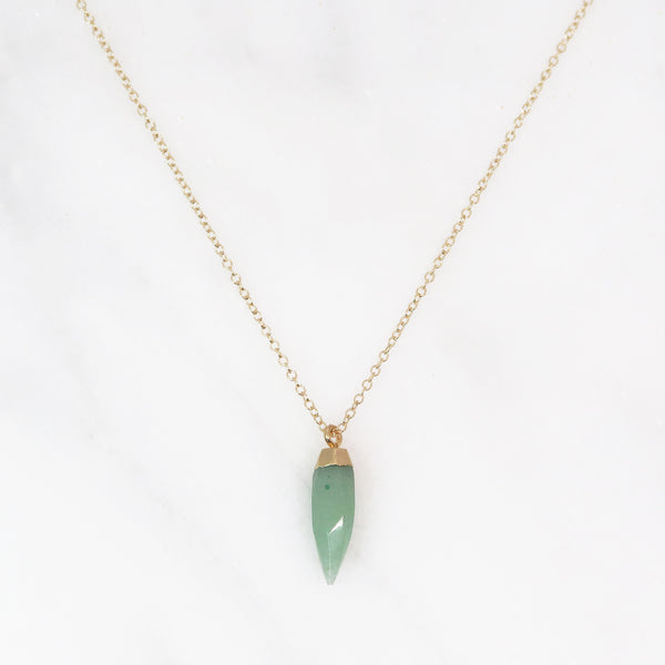 GemPoint Necklace - Green Aventurine