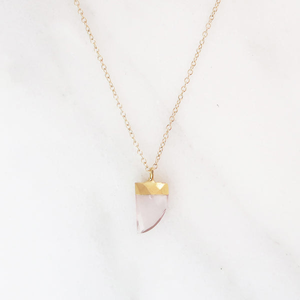 Horn Necklace - Rose Quartz