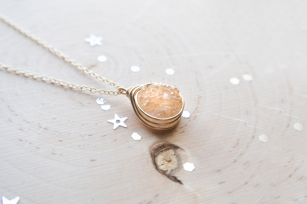Druzy Round Necklace - Champagne