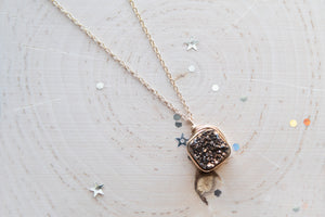 Druzy Square Necklace - Bronze