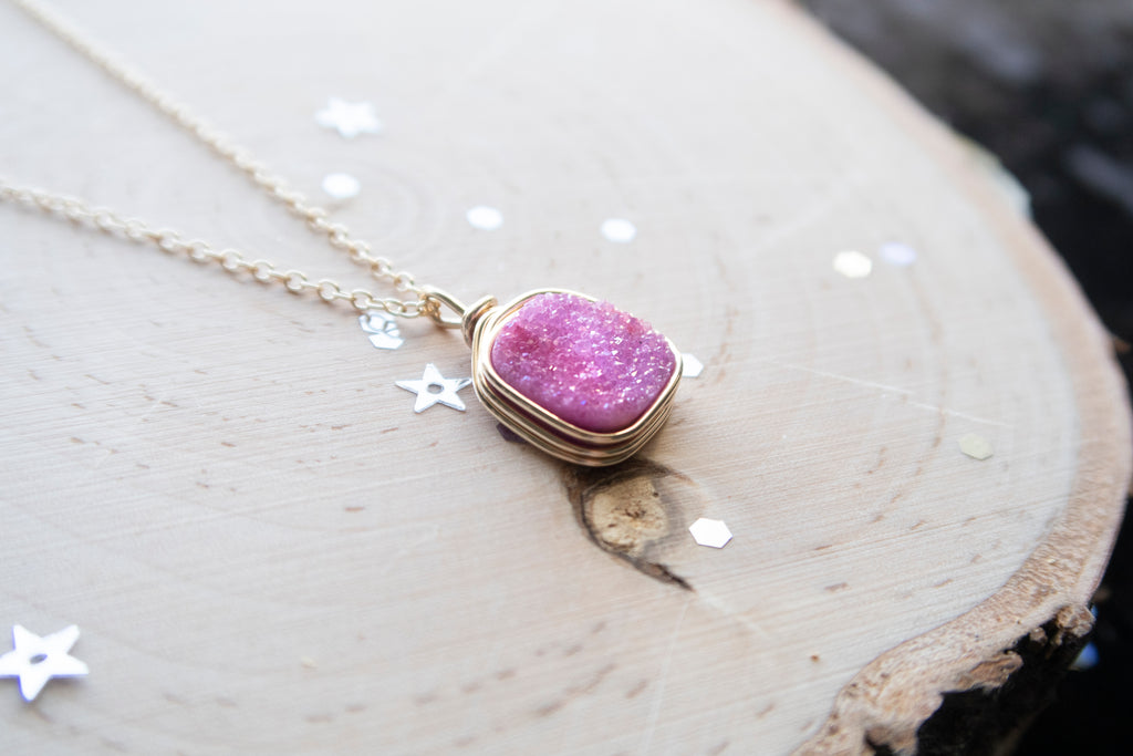 Druzy Square Necklace - Pink