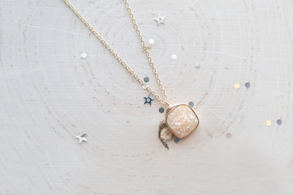 Druzy Square Necklace - Champagne
