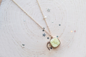 Druzy Square Necklace - Yellow
