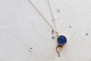 Druzy Round Necklace - Midnight Blue
