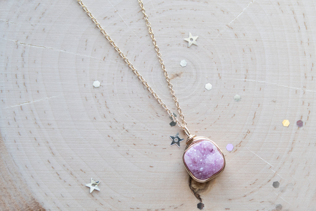 Druzy Square Necklace - Baby Pink