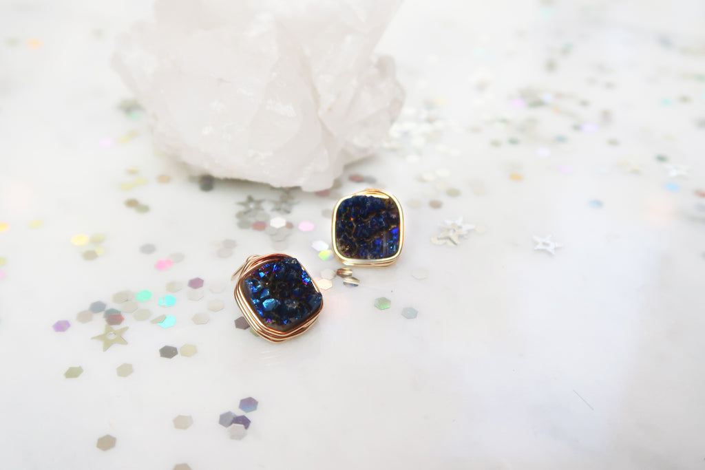 Druzy Square Studs - Midnight Blue