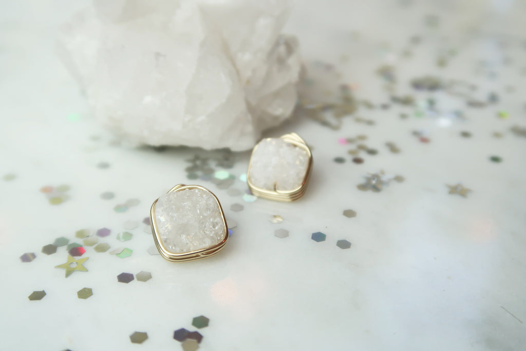 Druzy Square Studs - Iridescent Ice