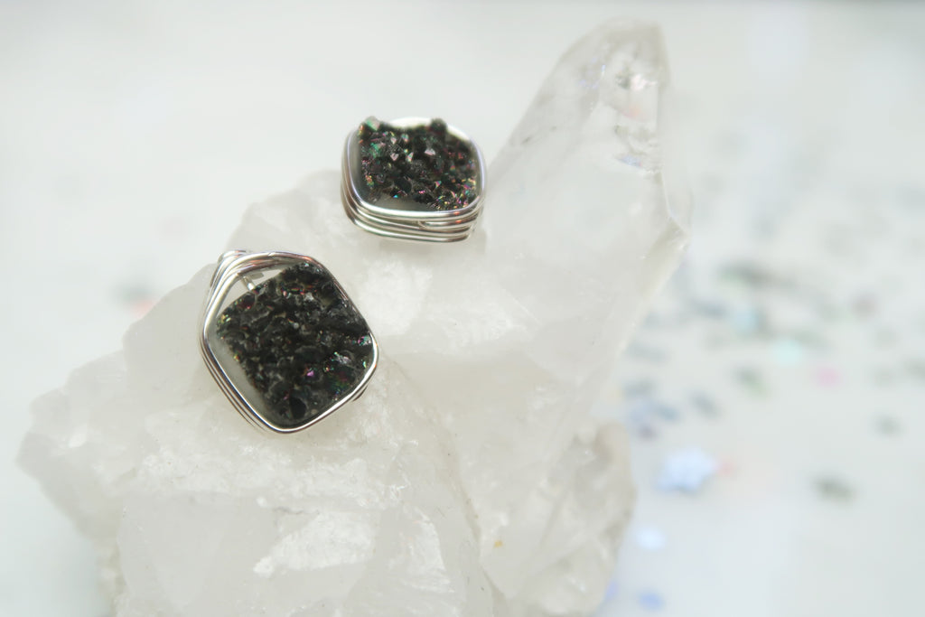 Druzy Square Studs - Black Galaxy