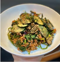 Pearl Barley Risotto with New Season Beetroot, Spinach and Tahini Courgettes