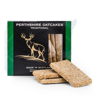 Perthsire best selling oatcake, the Traditional Oatcake is made from 100% pinhead oatmeal and has no added sugar or sweeteners. Perfect for a multitude of toppings from cheese, smoked salmon, pate and countless number of canape toppings - or simply on its own as a healthy snack