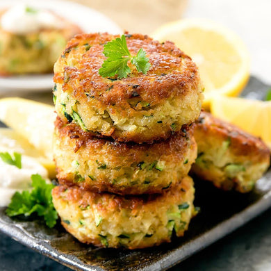 Tasty vegan crispy cakes with smoked seaweed, lemon and herbs by The Brook, packed with banana blossom and covered in yummy breadcrumbs. Enjoy as a fish replacement starter, main or perhaps in a plant-based burger.