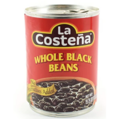La Costena whole black beans are a pre-seasoned bean mix to serve alongside rice, add to quesadillas or to top tacos with.   These canned beans are flavoured with onion, tomato and spicy jalapeno pepper, and are ready to serve. Simply heat the beans till simmering, and serve. These beans can also be enjoyed as a side dish, served with sliced avocado, sour cream and corn tortillas.