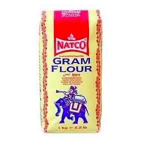 Gram Flour 1kg  Natco Gram Flour is the finest gram flour available in the UK and is the UK's gram flour brand leader. Unlike other gram flours which are often made from ground chick peas, Natco Gram Flour is made from 100% Chana Dal. It has a slightly nutty flavour and an earthy aroma and is used generally as a thickener for curries and soups and to make pakora and bhajia batters.