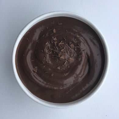 Chocolate Sorbet 420ml   A rich, indulgent, silky dark chocolate sorbet. Made with the highest quality 70% Belgian couverture chocolate, subtly flavoured with Spanish extra virgin olive oil and Anaña salt flower flakes from the Basque Country. VEGAN.