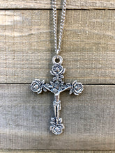 Load image into Gallery viewer, Rose Crucifix Necklace