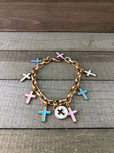 Bracelet - Cross Charm/Gold Tone