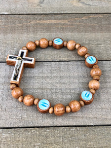 Bracelet - Brown Wood Crucifix with Lady of Grace