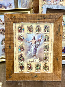Stations of Cross Italian Print in Wood Frame