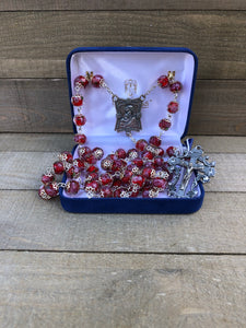 Rosary * Rose Painted Crystal/ Red