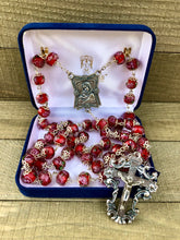 Load image into Gallery viewer, Rosary * Rose Painted Crystal/ Red