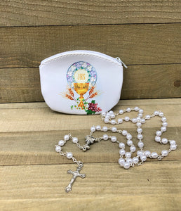 First Communion Rosary & Pouch * Girl's