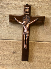 Load image into Gallery viewer, Crucifix - St Benedict/Rose Gold