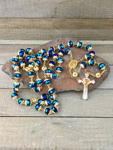 Rosary - Gold St Benedict - Blue Crystal Beads