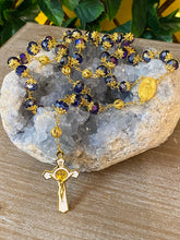 Load image into Gallery viewer, Rosary * Blue crystal/St Benedict/Miraculous medal