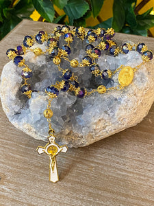 Rosary * Blue crystal/St Benedict/Miraculous medal