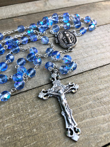 Rosary * Prayer Petition Locket/ Blue