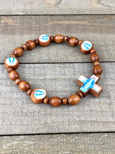 Bracelet - Brown wood Lady of Grace