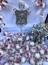 Load image into Gallery viewer, Rosary * Rose Crystal Painted/White