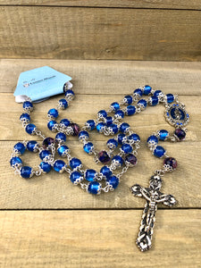 Rosary * Blue Glass/Blue Rose