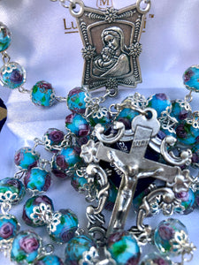 Rosary * Rose Painted Crystal/ Light Blue