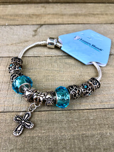 Bracelet - Toggle and Cross / Turquoise
