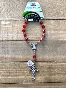 Auto Rosary - St Christopher Red Glass