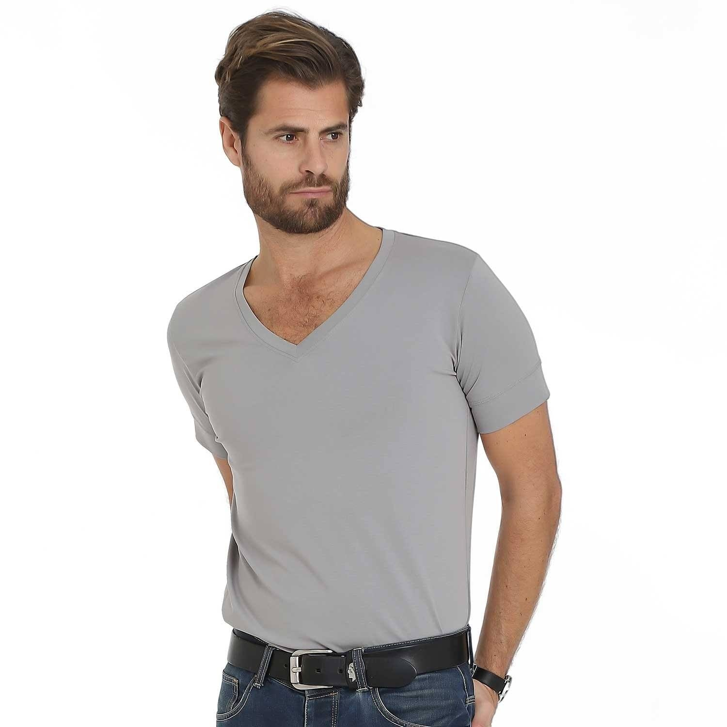 Florence – Grey V-Neck – T-Shirts – Sumisura
