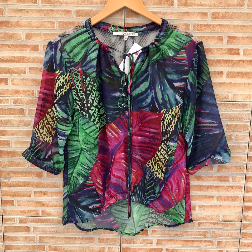 Blusa Shoulder estampada - PP
