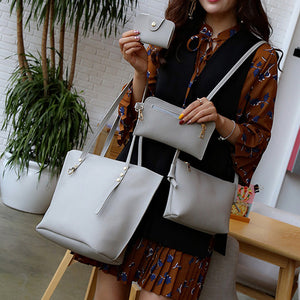 4Pcs Women's handbag Litchi Pattern Leather