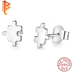 BELAWANG New Fashion Authentic 925 Sterling Silver Game Puzzle Stud Earrings for Women Sterling Silver Jewelry Brincos