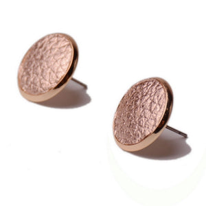 Rainbery Boho Genuine Leather Round Stud Statement Earrings For Fashion Trendy Jewelry Women Leather Alloy  Stud Earrings JE0945