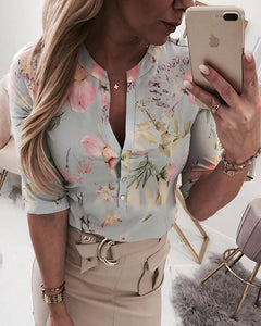 New  Womens Floral Button Up V Neck Blouse Tops Ladies Shirt