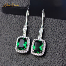 Load image into Gallery viewer, OneRain 100% 925 Sterling Silver 6 * 8 MM Emerald Citrine Sapphire Gems Drop earrings