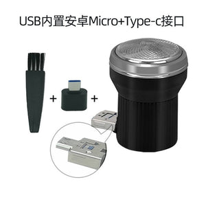 Portable black Mini Electric Shaver Razor travel camping USB Type-C iphone mobilephone rechargeable beard hair Removal Trimmer