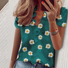 Load image into Gallery viewer, Elegant New Daisy Pineapple Print Ruffle blouse shirts Office Lady 2020 Summer Short Sleeve Slim Blouses women Sexy V-neck tops