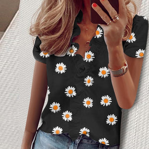 Elegant New Daisy Pineapple Print Ruffle blouse shirts Office Lady 2020 Summer Short Sleeve Slim Blouses women Sexy V-neck tops