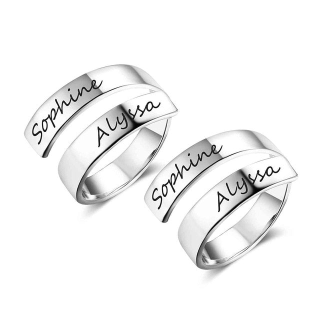 Personalized Gift Customized Engraved Name Stainless Steel Adjustable Rings for Women Anniversary Jewelry (JewelOra RI102973)