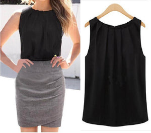 Women Elegant Sleeveless Ruched Chiffon Blouse